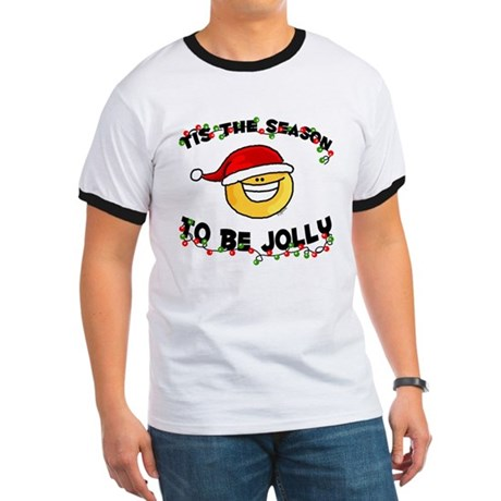 Jolly Christmas Santa Smiley Ringer T