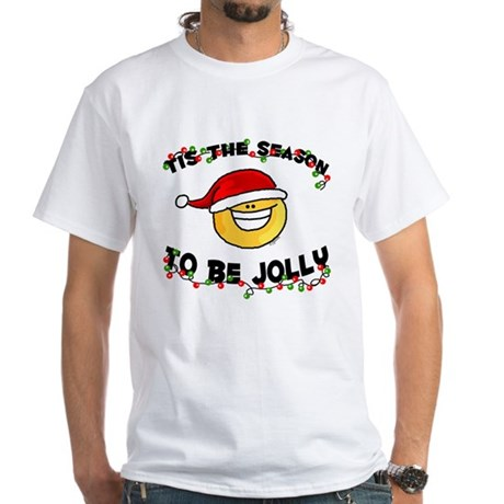 Jolly Christmas Santa Smiley White T-Shirt