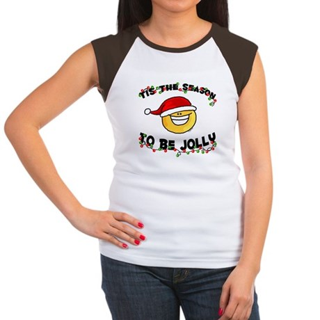 Jolly Christmas Santa Smiley Women's Cap Sleeve T-