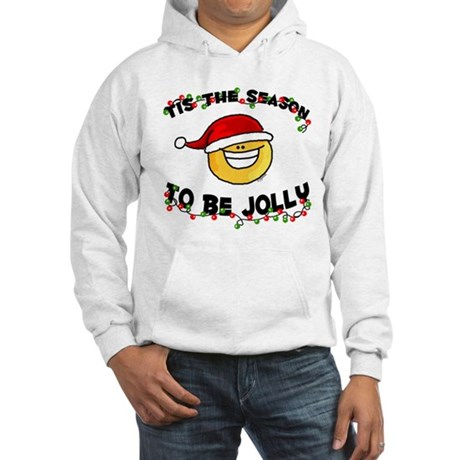 Jolly Christmas Santa Smiley Hooded Sweatshirt