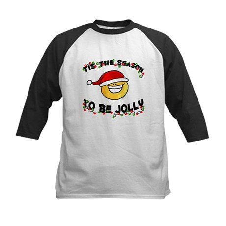 Jolly Christmas Santa Smiley Kids Baseball Jersey