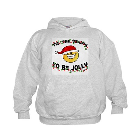 Jolly Christmas Santa Smiley Kids Hoodie