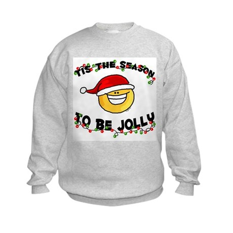 Jolly Christmas Santa Smiley Kids Sweatshirt