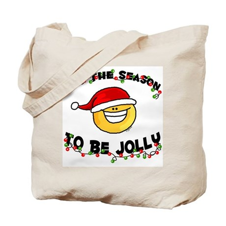Jolly Christmas Santa Smiley Tote Bag