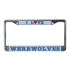I Love Heart Werewolves License Plate Frame