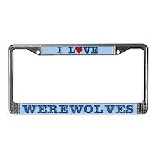 I Love Heart Werewolves License Plate Frame