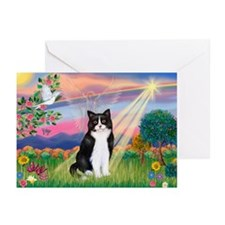 Angel (B&W) Cat Greeting Cards (Pk of 10)