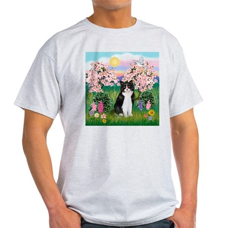Blossoms/Tuxedo Cat Light T-Shirt