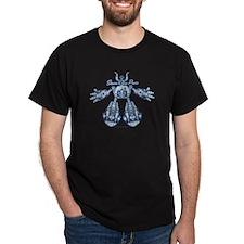 Blue Robot XRay Black T-Shirt