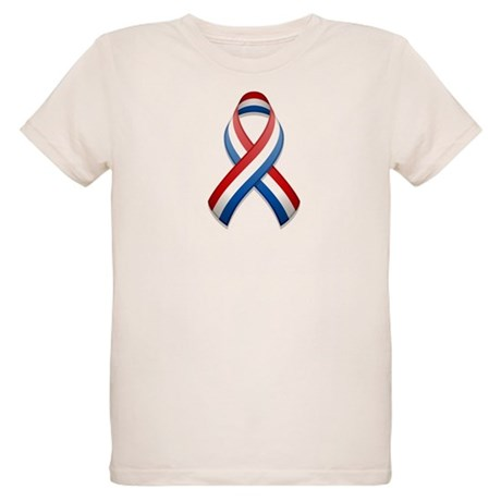Red White & Blue Ribbon Organic Kids T-Shirt
