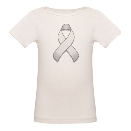 White Awareness Ribbon Organic Baby T-Shirt