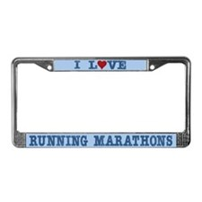 I Love Runing Marathons 26.2 License Plate Frame