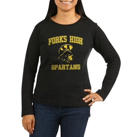 Forks High Spartans Womens Long Sleeve Dark T-Shi
