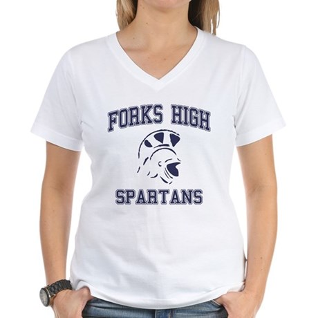 Forks High Spartans Womens V-Neck T-Shirt