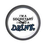 Secretary Need Drink Wall Clock