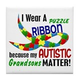 I Wear Puzzle Ribbon Grandsons 33 Tile Coaster