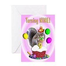 Girl 9th Birthday Greeting Card