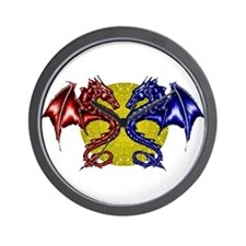 """dragons on moon"" Wall Clock"