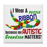 I Wear Puzzle Ribbon Grandson 33 Tile Coaster