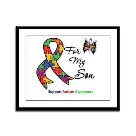 Autism Support Son Framed Panel Print