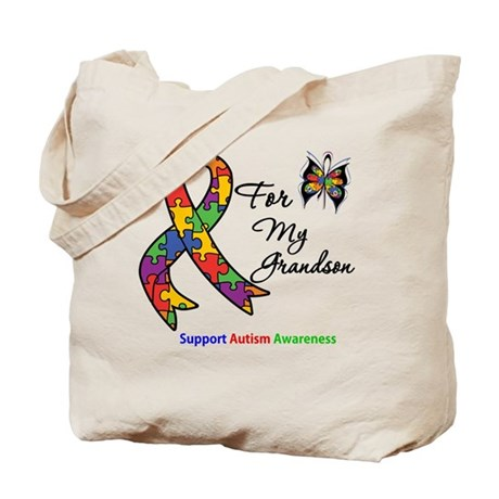 Autism Support Grandson Tote Bag