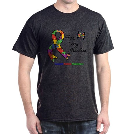 Autism Support Grandson Dark T-Shirt