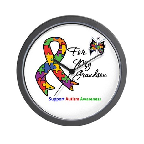 Autism Support Grandson Wall Clock
