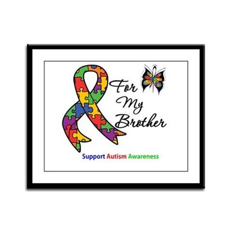 Autism Support Brother Framed Panel Print