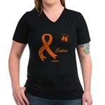 Leukemia Ribbon Sister-in-Law Women's V-Neck Dark
