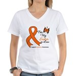 Leukemia Ribbon Sister-in-Law Women's V-Neck T-Shi