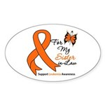 Leukemia Ribbon Sister-in-Law Oval Sticker (10 pk)