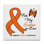 Leukemia Ribbon Sister-in-Law Tile Coaster