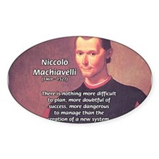 Political Theory: Machiavelli Oval Decal