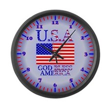 God Bless America Large Wall Clock