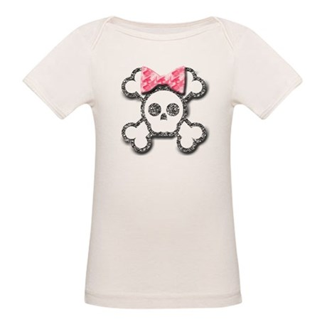 Girl Skull and Crossbones Pink Bow Organic Baby T-