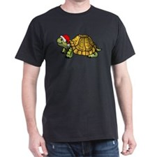 Christmas Turtle Black T-Shirt