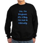 Pregnant w/ Boy due February Sweatshirt (dark)