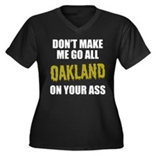 Oakland Baseball Women's Plus Size V-Neck Dark T-S