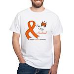 Leukemia Ribbon Husband White T-Shirt