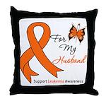 Leukemia Ribbon Husband Throw Pillow