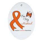 Leukemia Ribbon Husband Oval Ornament