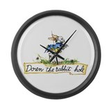 DOWN THE RABBIT HOLE Large Wall Clock