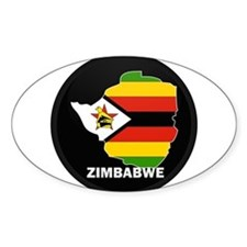 Flag Map of Zimbabwe Oval Decal