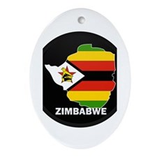Flag Map of Zimbabwe Oval Ornament