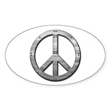 Metal rivet peace Oval Decal
