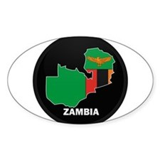 Flag Map of Zambia Oval Decal
