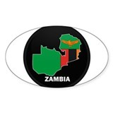 Flag Map of Zambia Oval Sticker (10 pk)