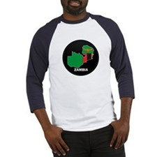 Flag Map of Zambia Baseball Jersey