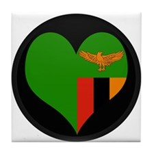 I love Zambia Flag Tile Coaster