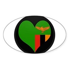 I love Zambia Flag Oval Decal
